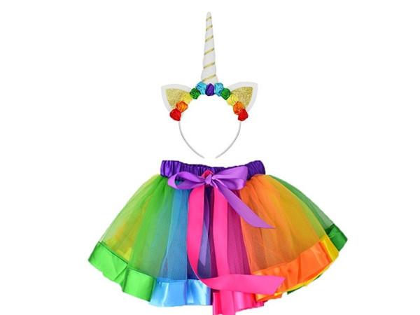 Disfraz unicornio tutú falda tiara